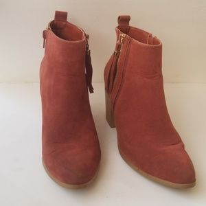 Just Fab boots suede heeled brown booties sz.8